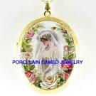 VICTORIAN WEDDING BRIDE ROSE PORCELAIN CAMEO LOCKET NECKLACE