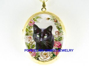GREEN EYES BLACK CAT SPRING PINK ROSE PORCELAIN CAMEO LOCKET NK