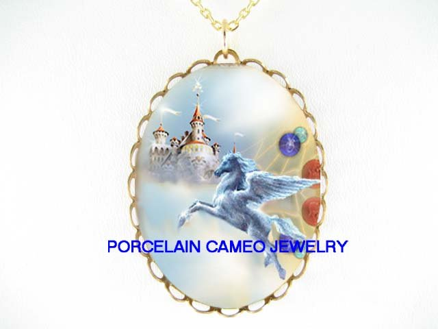 PEGASUS HORSE CASTLE * CAMEO PORCELAIN NECKLACE