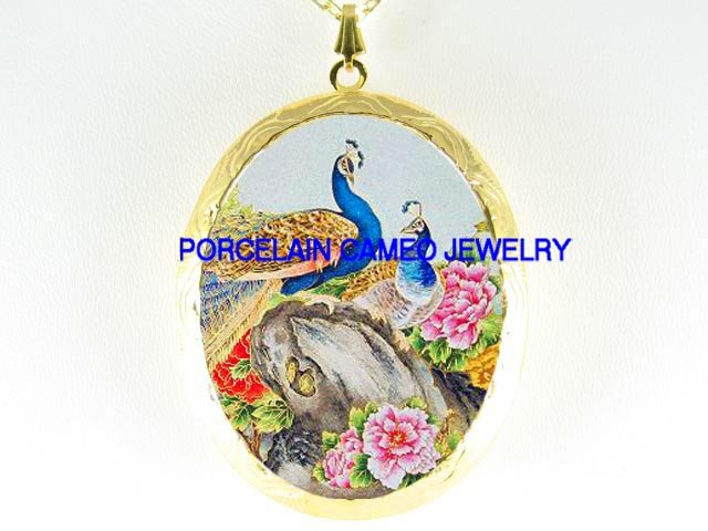 2 PEACOCK CHINESE PEONY CAMEO PORCELAIN LOCKET NECKLACE