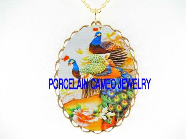 2 BLUE PEACOCK CHINESE PEONY  * CAMEO PORCELAIN NECKLACE