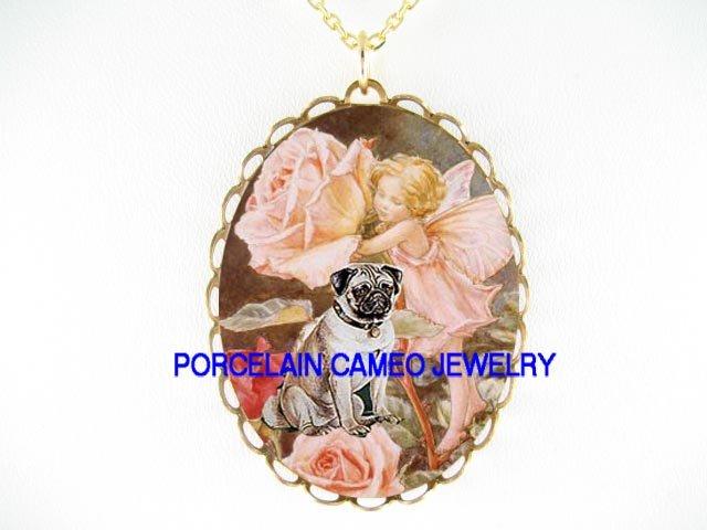 PUG DOG VICTORIAN ROSE FAIRY CAMEO PORCELAIN NECKLACE