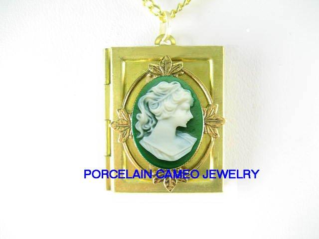 3D VICTORIAN IRISH GREEN LADY VINTAGE CAMEO BOOK LOCKET