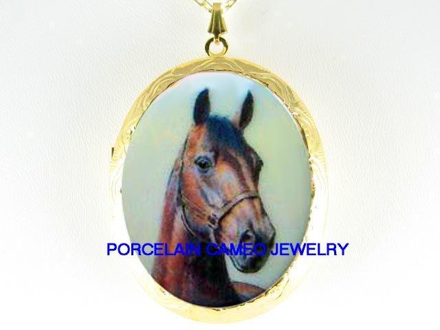 BROWN ARABIAN HORSE CAMEO PORCELAIN LOCKET NECKLACE
