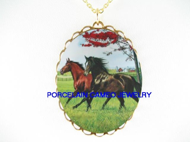 2 BLACK BROWN STALLION HORSE RUNNING * CAMEO PORCELAIN NECKLACE
