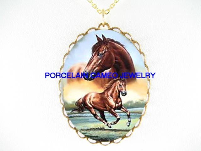 BROWN THOROUGHBRED HORSE RUNNING * CAMEO PORCELAIN NECKLACE
