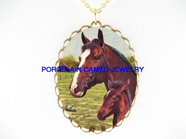 THOROUGHBRED HORSE  MARE FOAL CAMEO PORCELAIN NECKLACE