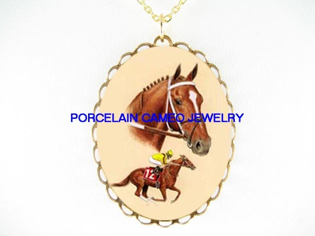 BROWN THOROUGHBRED RACING HORSE  * CAMEO PORCELAIN NECKLACE
