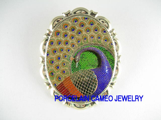RARE MOSAIC PEACOCK BIRD PORCELAIN CAMEO PIN BROOCH
