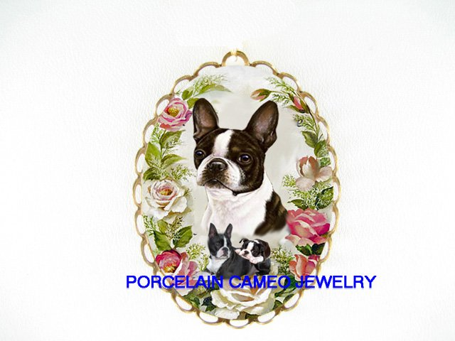 BOSTON TERRIER DOG MOM CUDDLING PUPPY SPRING ROSE  CAMEO PORCELAIN PENDANT PIN BROOCH