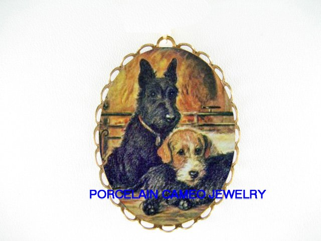 SCOTTISH TERRIER DOG  WITH FOX TERRIER DOG FIREPLACE   *  CAMEO PORCELAIN PENDANT/PIN BROOCH