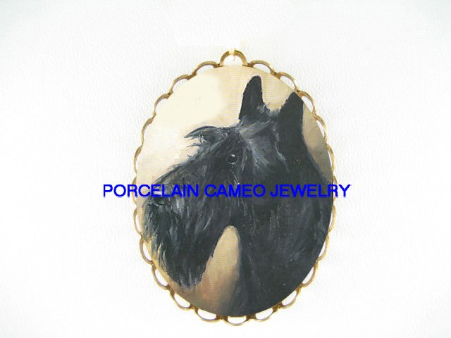 SWEET SCOTTISH TERRIER DOG  *  CAMEO PORCELAIN PENDANT/PIN BROOCH