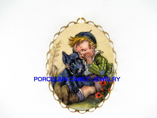 SCOTTISH TERRIER PUPPY DOG WITH HUMMEL BOY*  CAMEO PORCELAIN PENDANT/PIN BROOCH
