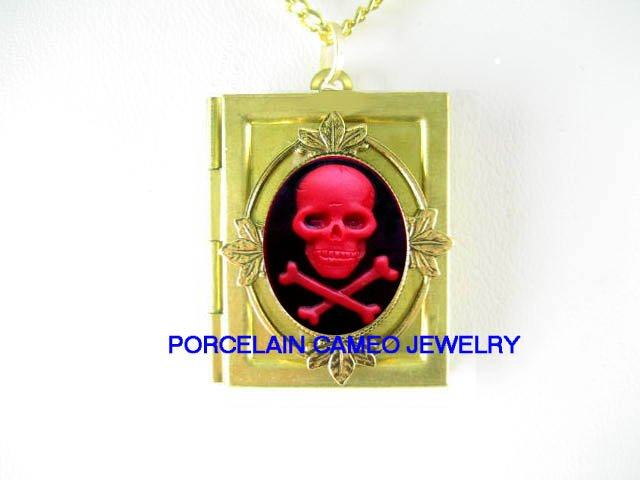 3D RED SKULL GOTH PIRATE PUNK VINTAGE CAMEO BOOK LOCKET NECKLACE