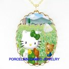 HELLO KITTY WITH TEDDY BEAR CAMEO PORCELAIN NECKLACE