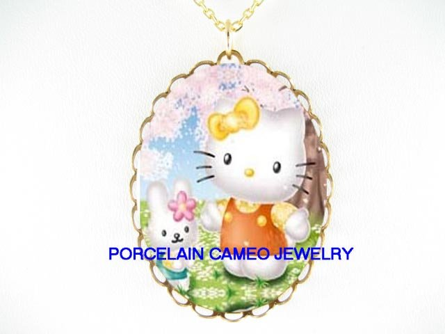 HELLO KITTY BUNNY RABIT CHERRY BLOSSOMS CAMEO PORCELAIN NECKLACE