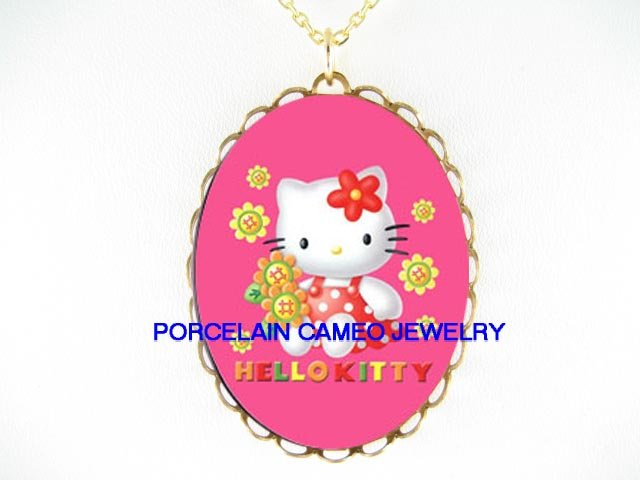 PINK HELLO KITTY SUNFLOWER CAMEO PORCELAIN NECKLACE