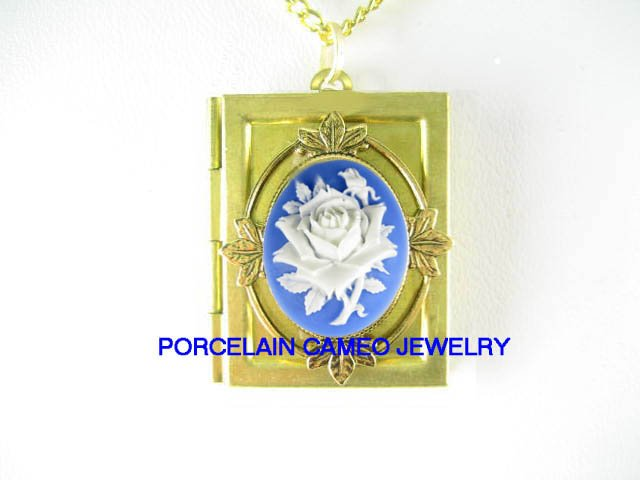 VICTORIAN BLUE WHITE ROSE 3D CAMEO VINTAGE BOOK LOCKET