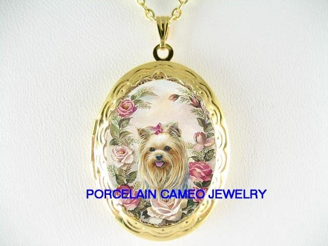 YORKSHIRE TERRIER DOG ROSE PORCELAIN CAMEO SMALL LOCKET