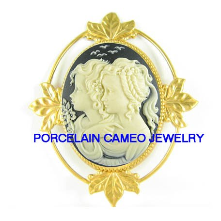 2 VICTORIAN SISTERS BEST FRIEND  *  CAMEO PORCELAIN PENDANT/PIN BROOCH