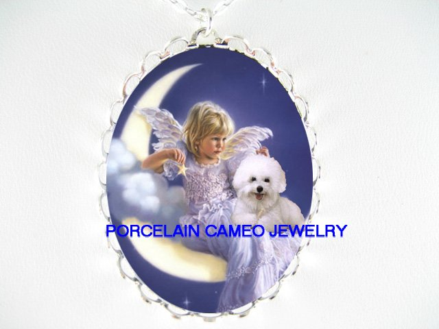 BICHON FRISE DOG ANGEL MOON PORCELAIN CAMEO NECKLACE