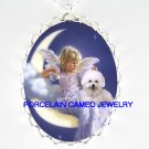 BICHON FRISE DOG ANGEL MOON PORCELAIN CAMEO NECKLACE