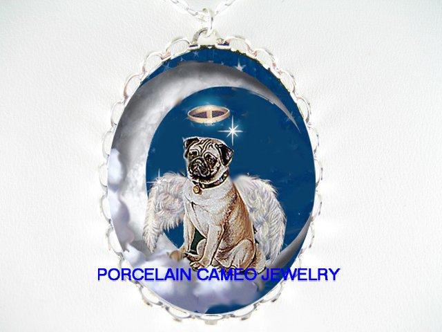 ANGEL CHERUB HALO PUG DOG CAMEO PORCELAIN NECKLACE