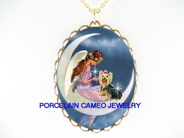 ANGEL MOON YORKSHIRE TERRIER DOG PORCELAIN NECKLACE