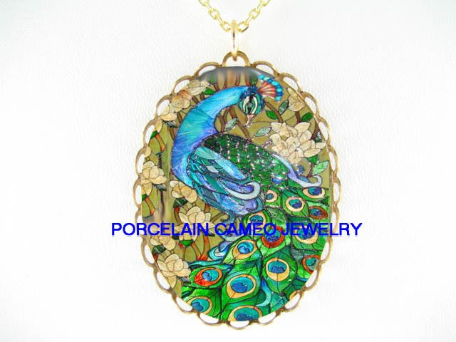 GREEN PEACOCK WITH DOGWOOD * CAMEO PORCELAIN NECKLACE