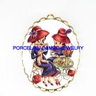 RED HAT BETTY BOOP TEA TIME* PORCELAIN CAMEO PIN BROOCH
