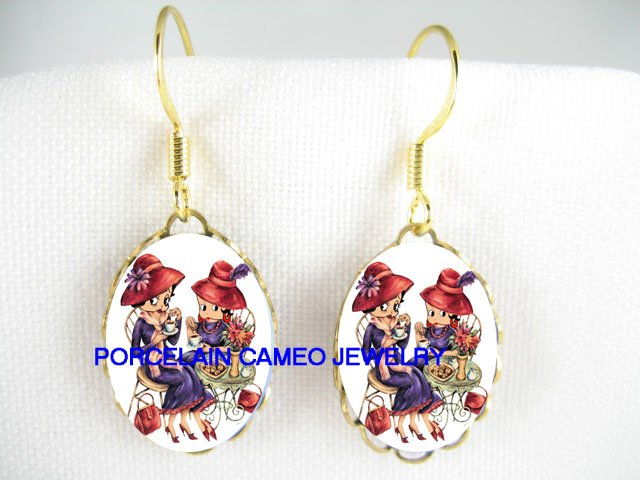 RED HAT BETTY BOOP TEA TIME* PORCELAIN CAMEO EARRINGS