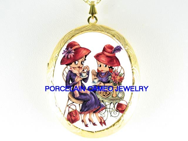 RED HAT BETTY BOOP TEA TIME* PORCELAIN CAMEO LOCKET NECKLACE