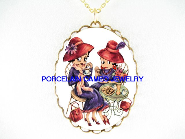 RED HAT BETTY BOOP TEA TIME* PORCELAIN CAMEO NECKLACE