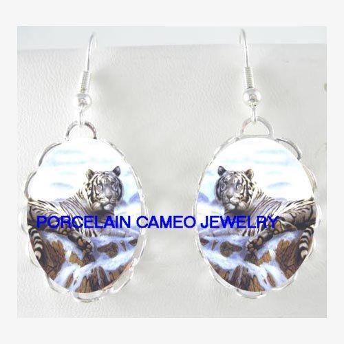 WHITE TIGER SNOW MOUNTAIN CAMEO PORCELAIN EARRINGS