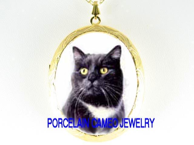 SWEET BLACK WHITE CAT CAMEO PORCELAIN LOCKET NECKLACE