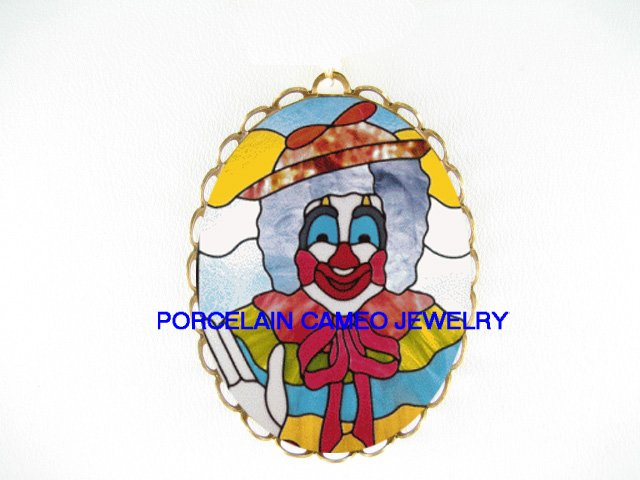 SMILING CLOWN CAMEO PORCELAIN PENDANT PIN BROOCH