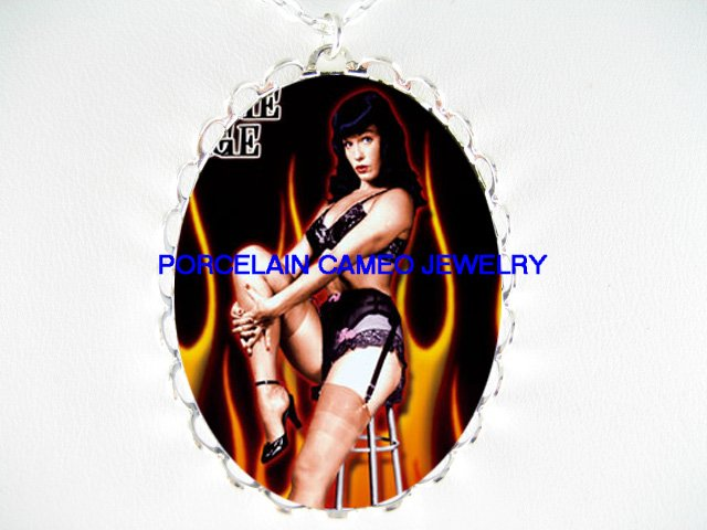 PINUP BETTIE PAGE FIRE FRAME CAMEO PORCELAIN NECKLACE