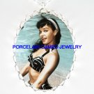 PINUP GIRL BETTIE PAGE FRAME CAMEO PORCELAIN NECKLACE