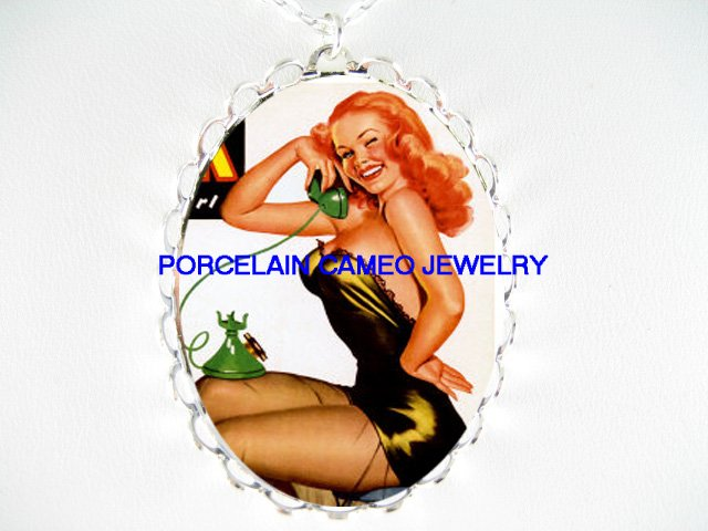 BLONDE PINUP GIRL ON THE PHONE CAMEO PORCELAIN NECKLACE