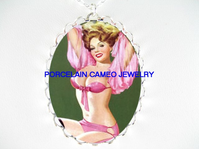 SEXY BLONDE PINUP GIRL IN PINK*  CAMEO PORCELAIN NECKLACE