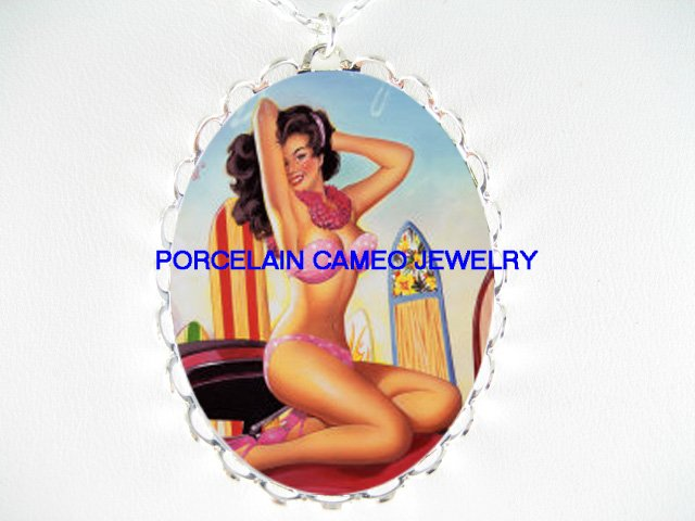 SEXY PINUP GIRL PINK BATHING SUIT*  CAMEO PORCELAIN NECKLACE