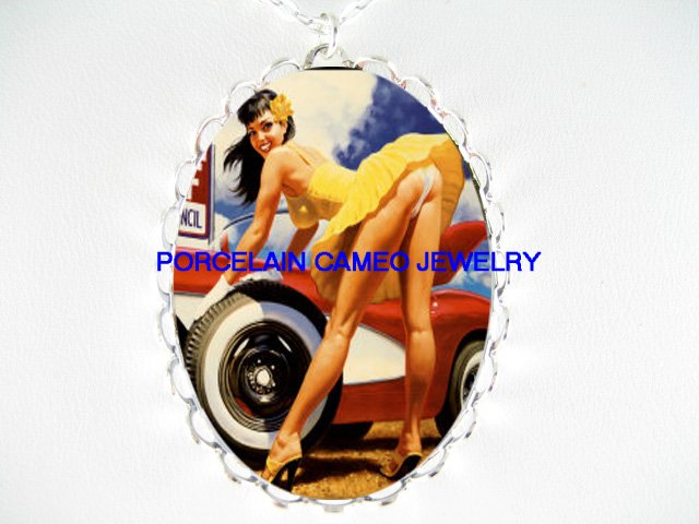 SEXY PINUP GIRL WITH RACING CAR*  CAMEO PORCELAIN NECKLACE