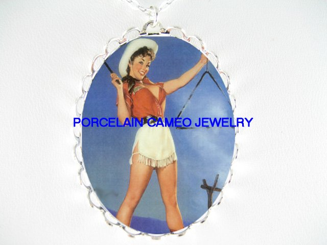 WESTERN COWGIRL PINUP GIRL *  CAMEO PORCELAIN NECKLACE