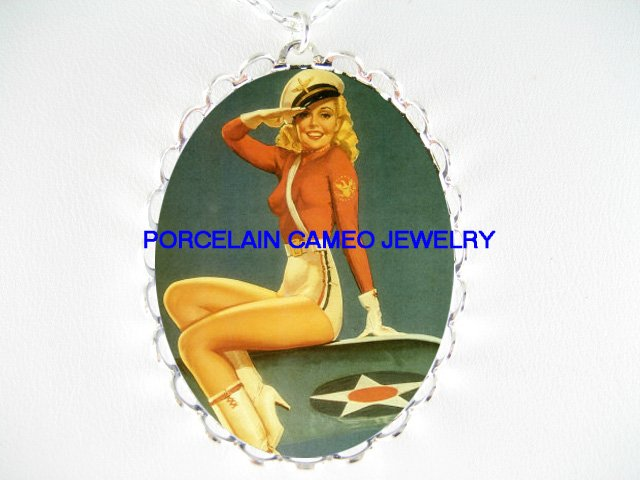 BLONDE ARMY AIR FORCE PINUP GIRL *  CAMEO PORCELAIN NECKLACE
