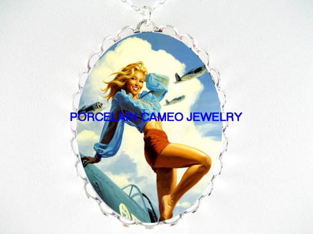 PINUP GIRL ARMY AIR FORCE *  CAMEO PORCELAIN NECKLACE