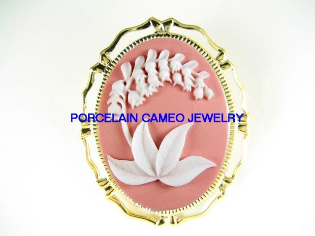 PINK LILY OF THE VALLEY 3D VINTAGE CAMEO PIN BROOH