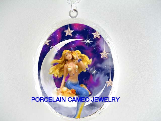 BLONDE MERMAID SIT ON THE MOON STARS* CAMEO PORCELAIN LOCKET NECKLACE