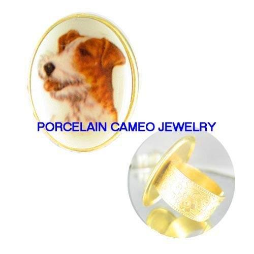 VINTAGE JACK RUSSELL TERRIER DOG CAMEO PORCELAIN ADJ RING 5-9