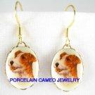VINTAGE JACK RUSSELL TERRIER DOG CAMEO PORCELAIN EARRINGS