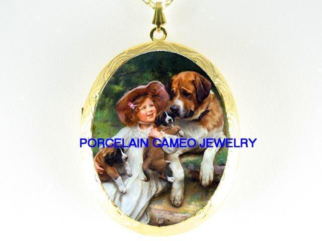 VICTORIAN GIRL 3 SAINT BERNARD DOG FAMILY CAMEO LOCKET